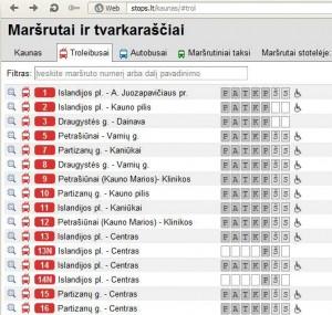 Kaunas - troleibusų maršrutai 2014-08-18