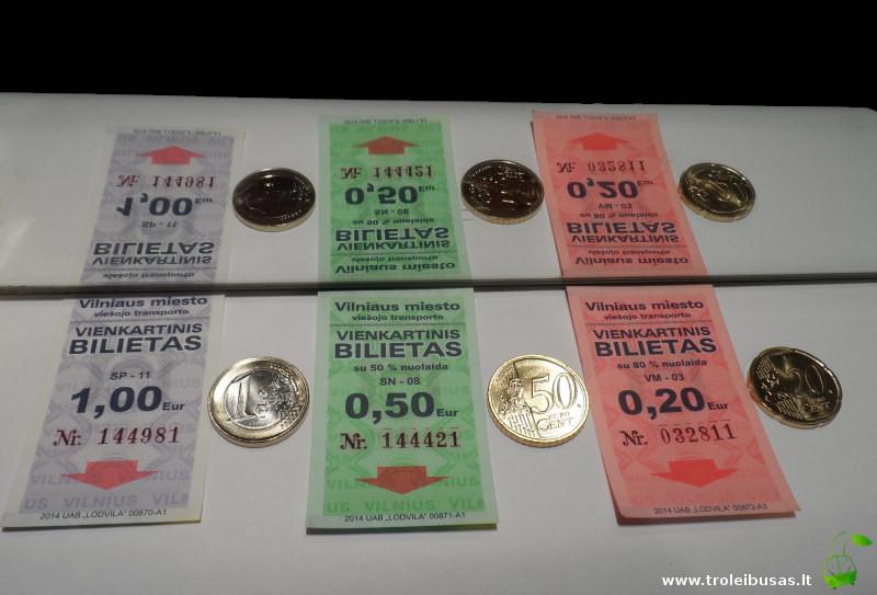 Vienkartiniai bilietai, eurai