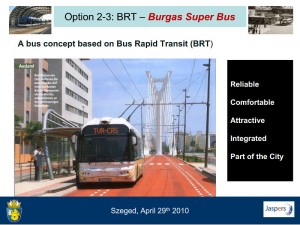 Burgaso BRT troleibusų linijos projekto pristatymo fragmentas